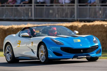 Ferrari SP3JC - front 3/4 tracking Goodwood 2019